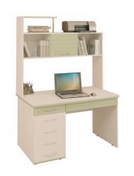 Компьютерный стол Акварель-53.14 + Надстройка 53.18 [Дуб Кобург / Едера глянец] (Витра)