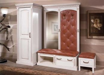 Прихожая Грация (эмаль золотая) (Вилейская мебельная фабрика)Вилейская мебельная фабрика Прихожая Грация (эмаль золотая)