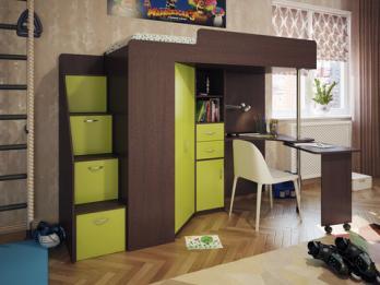 Кровать-чердак Милана-6 (венге+зеленый) (Милана-мебель)Милана-мебель Кровать-чердак Милана-6 (венге+зеленый)