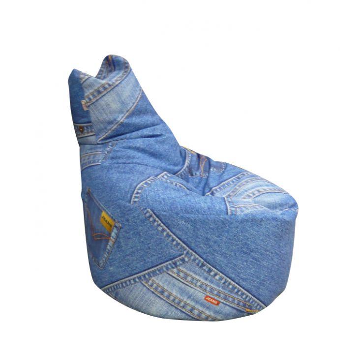 Кресло груша из старых джинсов своими руками 22
