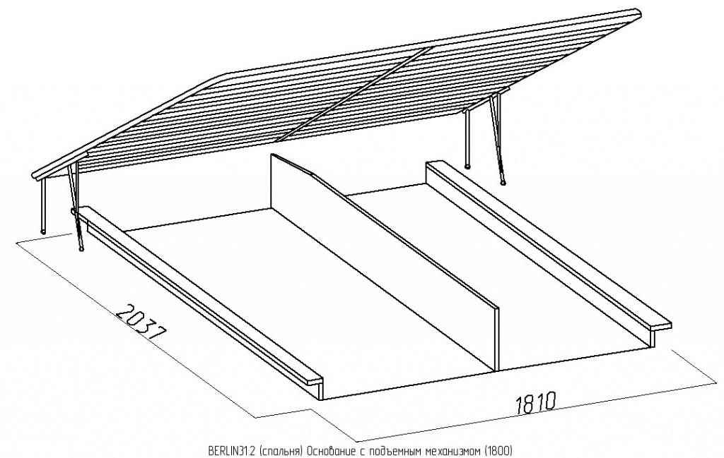 BERLIN31 Кровать (1800) + BERLIN31.2 Основание с подъемным механизмом (1800)