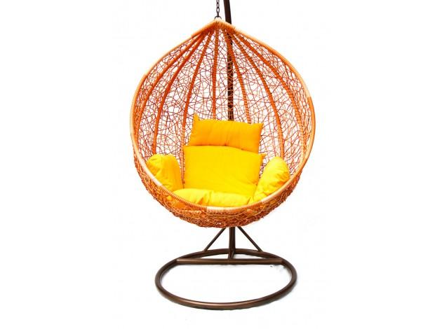 Подвесное кресло KM-0001 (рыжий, подушка со зверушками) [Рыжий иск. ротанг / Подушка со зверушками]