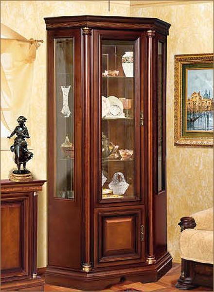 Шкаф витрина угловая омега 3-1д (декорированный).