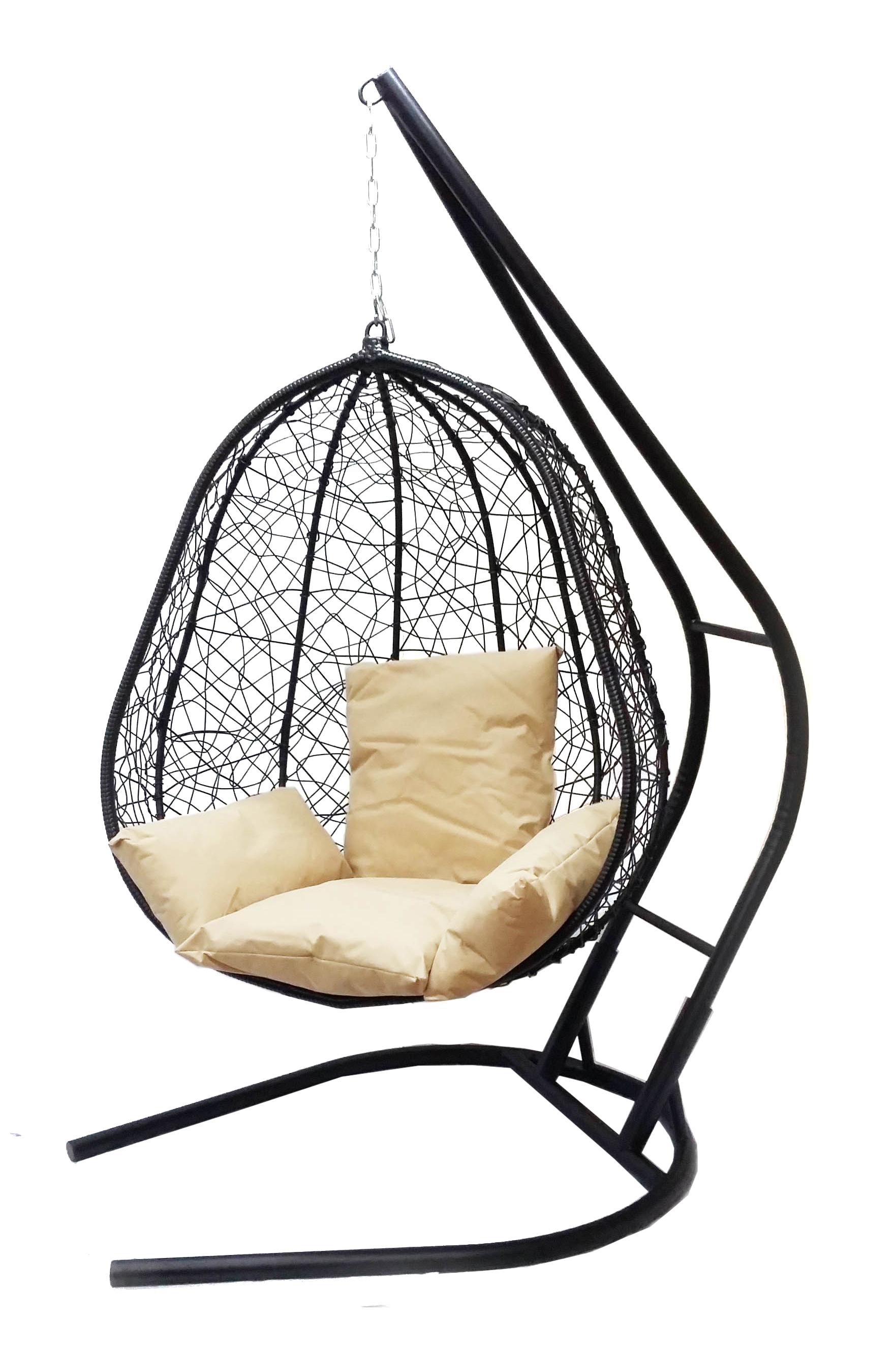 Подвесное кресло Капри XXL черное с бежевой подушкой