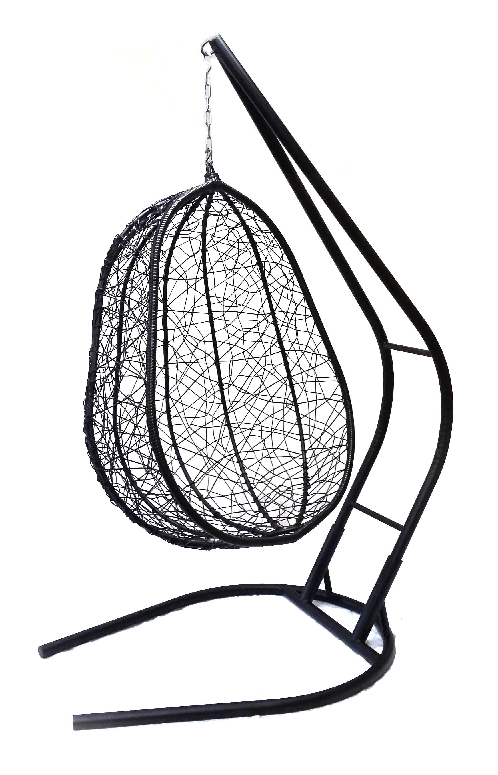 Подвесное кресло Капри XXL черное с бежевой подушкой (Облачный замок)